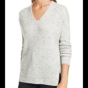 Nordstrom Signature Women's Cashmere Pullover Sweater Grey Speckle Size Small